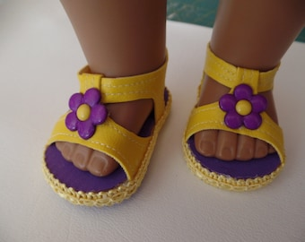 "Purple and yellow--Fun and Funky -Sandals-- for 18"" Dolls--Shown on my American Girl Doll"