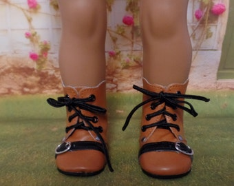 Medium Brown Motorcycle Boots for--18 Inch dolls--- Boots-Shown on my american girl doll