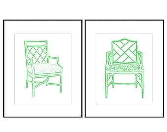 Green Chinoiserie Chair Digital Art Print, INSTANT DOWNLOAD, Bamboo Chair, Chippendale Chair, Palm Beach Chic, Hollywood Regency  Set of 2