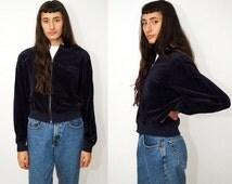 vintage TOMMY HILFIGER jacket (XL) navy blue 90s velour dark loungewear lounge wear homewear home workout work out activewear active 1990s