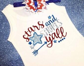 Girls 4th of July Shirt, Patriotic Shirt, Fourth of July Shirt, 4th of July Cutie, Red White And Blue Shirt, Stars And Stripes Shirt