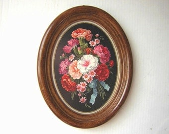 """Bouquet flowers,  carnations- Antique  little  frame / picture, oval, wood & glass, 5.71"""""""