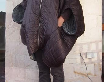 NEW Winter Warm Asymmetric Extravagant Midi Sleeves Brown Coat / Waterproof Windproof Quilted Coat  & Nara SHP001