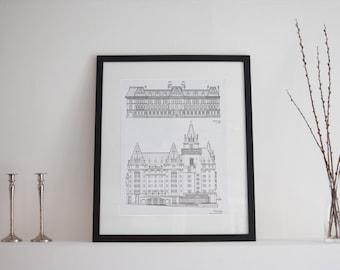 Ottawa Landmark Buildings - Château Laurier & Langevin Block  - Black and White Drawings - Ottawa Art - Ottawa Print