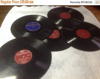50% Off Summer Sale Five Vintage 78 / 33 RPM Columbia Records