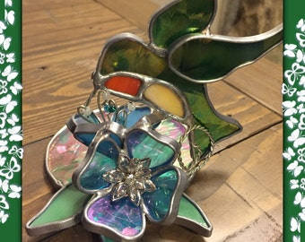 Stained Glass Hummingbird Votive Candle Holder