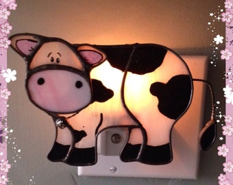 Cow, Stained Glass, Night Light, Sun Catcher, Cow Decor, Farm Animal, Custom Made
