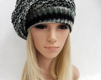 Knit Hat Slouchy Beret Beanie Handmade .. Black,Gray,Silver Multi  (Ready to Ship)