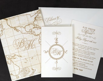 Letterpress Wedding Invitation Set Of 100 Destination Wedding