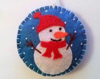 PRE ORDER / Felt Snowman ornament, Felt christmas ornament, Christmas snowman, Snowing ornament, Christmas decor, Xmas decoration