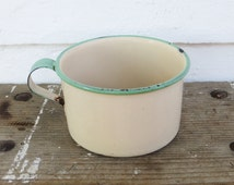 rustic cream & green enamelware mug ~ vintage cream enamelware with green rim and handle ~ farmhouse antique