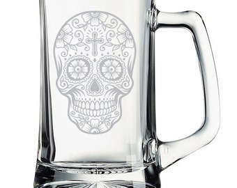 Sugar Skull Cross Etched Mug Personalized  Day of the Dead