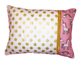 Unicorn toddler pillow case, gold, pink, turquoise, minky dot