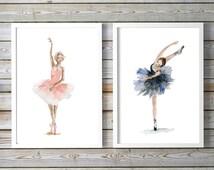Ballet Art - ballet dancer Watercolor Painting - set of 2 prints - Ballerina Painting Wall Decoration - dAncing woman girls room art