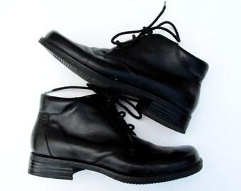 Size 7 1/2 | Vintage Dockers Black Leather Ankle Boots Vintage Black Boots Leather Boots Lace Up Boots 90s Black Boots
