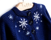 Christmas sweater warm winter baby sweater with snowflakes dark blue and white cardigan MADE TO ORDER