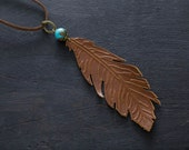 SALE Leather Feather Necklace with Turquoise Colored Bead, Leather Feather Jewelry, Boho Chic, Inexpensive Bohemian Jewelry