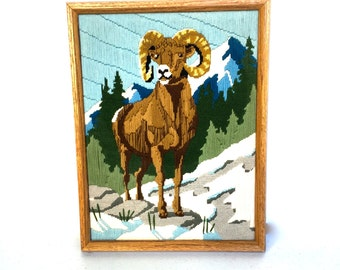 Vintage Crewel Stitched Framed Picture of a Long Horned Sheep, Ram