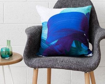 Adrian Cushion - Teal - Printed Velvet Cushion Cover