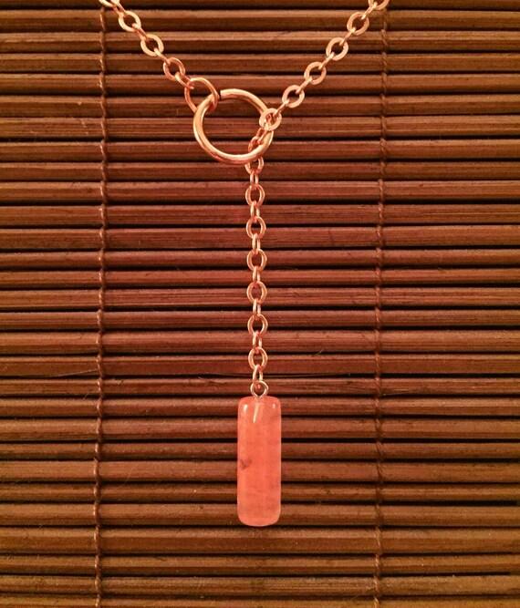 Cylinder Gemstone Lariat Necklace