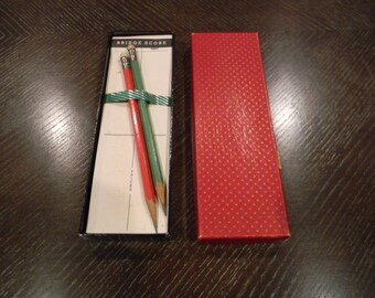 Wonderful vintage boxed set of Bridge Score Sheets with Two Pencils in a Decorative Box