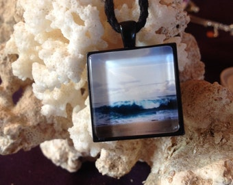 Beach Jewelry Breaking Wave Pendant necklace handmade Ocean Jewelry Original Photo Art Surf Art Gift for Her gift under 20 beach theme blue