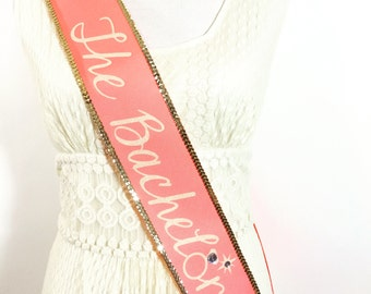 The Bachelorette Sash, Pink Coral and Gold