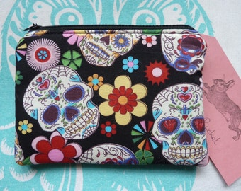 Handmade Makeup Bag Coin Purse Skull Skulls Gothic Fabric Cosmetic Pouch Padded Lined