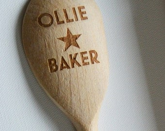 Personalised Great British Bake Off, Star Baker, Bake Off, Custom Wooden Spoons, Childrens Birthday, Mothers Day, House Gift, Baking Parties