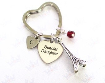 Daughter gift - Paris keyring for daughter - Special daughter birthday - Personalised Eiffel Tower keychain - Daughter keyring - Etsy UK