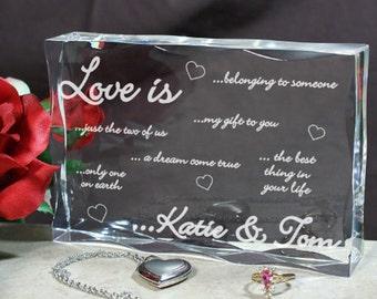 Personalized Engraved Love Is...Keepsake Block