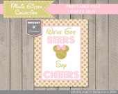 INSTANT DOWNLOAD Pink and Gold Glitter Mouse Printable 8x10 We've Got Beers, Say Cheers Sign / Mouse Glitter Collection / Item #2014