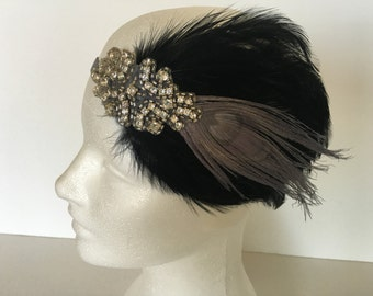 Gray feather Gatsby headpiece, 1920s headband, Flapper headband, Roaring 20s, 1920s hair accessory, Vintage inspired