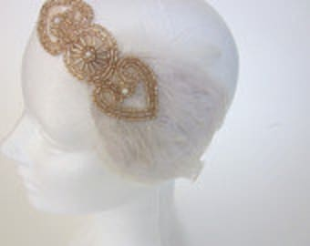 CHAMPAGNE BEADED headpiece, feather headband, navy blue, ivory 1920s headpiece 1920s hair accessory beaded flapper headband feather headband