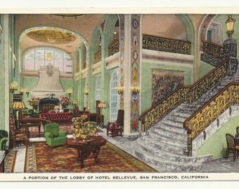 A portion of the Lobby of Hotel Bellevue, San Francisco, California  1942 Postcard