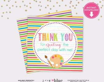 Art Party Favor Tag - Painting Birthday Thank You Tag - Pink Purple Yellow Birthday Favor Art Palette Paint - Instant Download Digital File