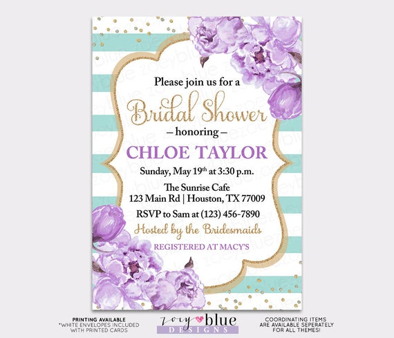 Peony bridal shower invitation turquoise lilac purple watercolor il570xn filmwisefo Gallery