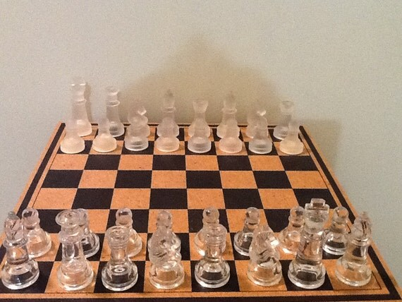 Vintage Glass Chess Set Frosted Clear Glass Board Game