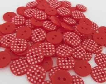 10 x 13mm Red Polka Dot Buttons