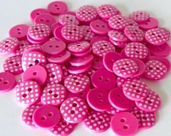 10 x 13mm Cerise Pink Polka Dot Buttons