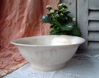 Antique french large white ironstone bowl. Tea stained french ironstone bowl. Creamware bowl. Large ironstone bowl. French cottage decor