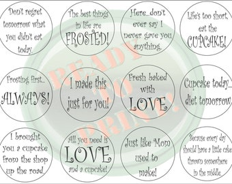 "Bakery Cupcake Toppers Printable Black White Sheet of 12 2 1/2"" Circle Labels Tags Cake Tops Cupcakery Signs DIY Funny Business Cake Picks"