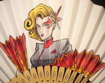 Battleborn: Deande the Jennerit Assassin - handpainted Paperfan