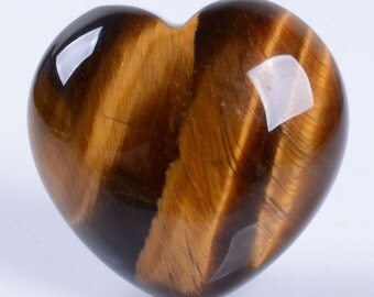 "g3890 x2 2pcs of Golden tiger eye puff LOVE hearts Crystal healing Reiki pocket stone 0.8"""