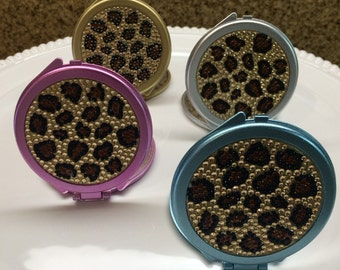 Leopard bling compact mirrors / cheetah favors / compact mirror favors
