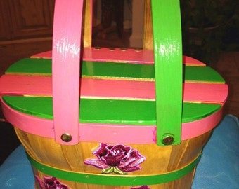 SALE Vintage Hand Decorated Pink & Green Basket Purse AKA Colors Handbag