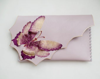 Dusty pink butterfly clutch Bridesmaid butterfly bag Painted butterfly purse Unique purse Unusual bridal gift Purple butterfly clutch bag