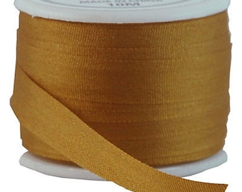 11 Yds (10 M) Embroidery Silk Ribbon 100% Silk 7mm - Golden Tan - By Threadart