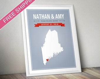 Personalized Maine Wedding Gift - Custom Maine State Map Art Print, Wedding Guest Book, Engagement Gift, Mid Century Modern