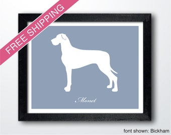 Personalized Great Dane Silhouette Print with Custom Name (Natural Ears) - Great Dane art, modern dog home decor, dog art